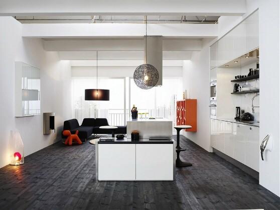 Скандинавский стиль отлично гармонирует с элементами современного декора