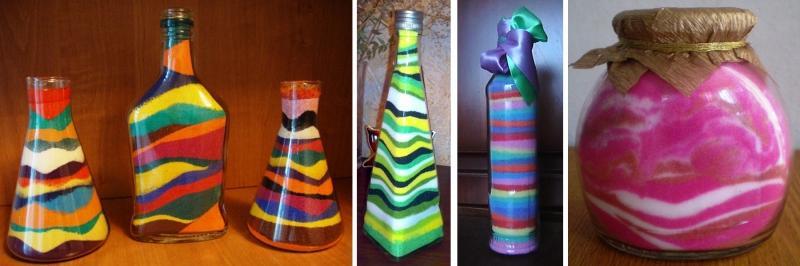 Бутылки, декорированные, цветной солью.