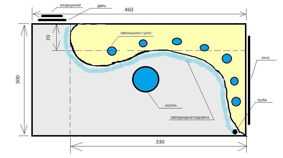 Схема разметки натяжного потолка