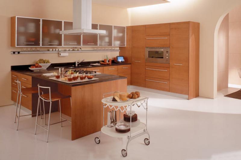 Расположение кухонного гарнитура полуостровом