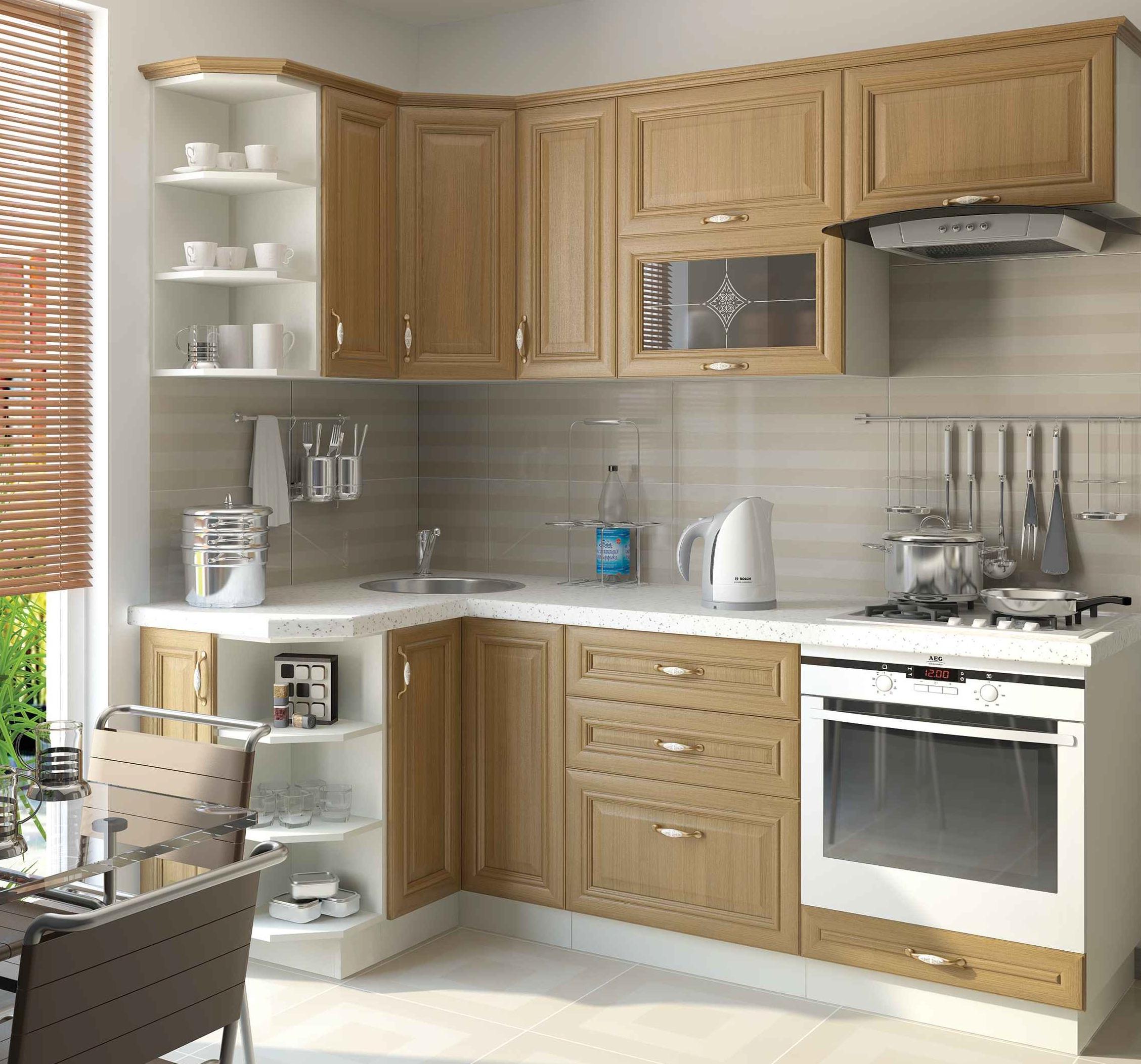 Фасад из шпона – недешевое решение для модульной кухни.