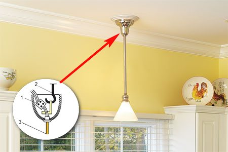 Схема монтажа светильников подвесного типа