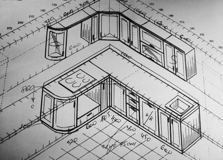 Примерная схема расположения кухонного гарнитура