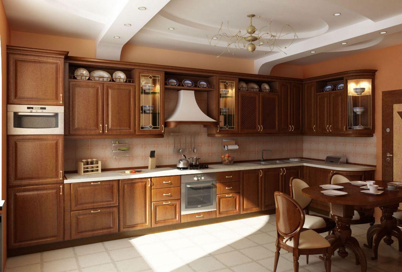 Фасады классической кухни – это дерево благородных пород