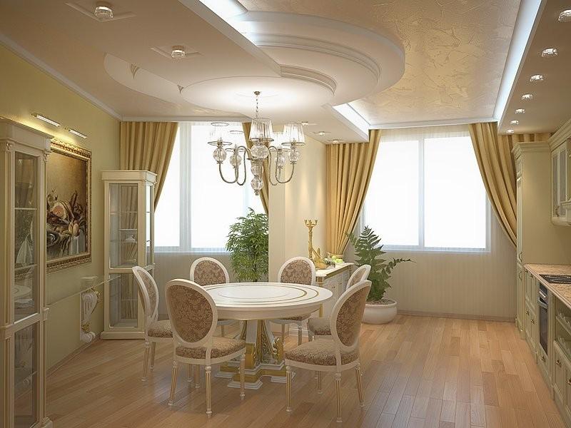 Потолок в классической кухне – это строго геометрический рисунок с хорошо обозначенными углами.