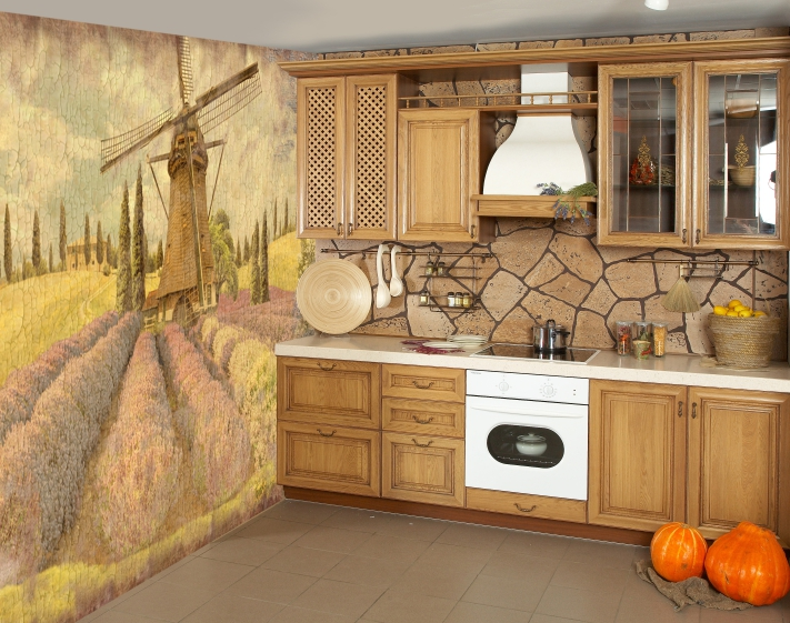 Фотообои способны визуально расширить размер кухни