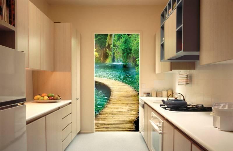 Фотообои с изображением открытого окна или двери смотрятся очень эффектно