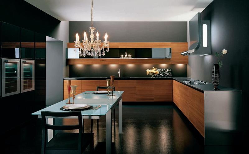 Кухня-столовая с металлической и деревянной отделкой