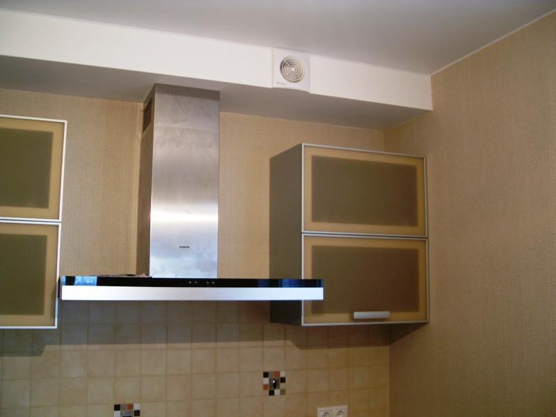 Современная Т-образная вытяжка в интерьере кухни