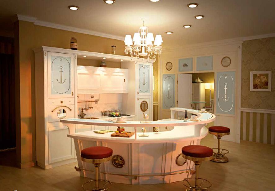 Кухня с барной стойкой в стиле камбуза