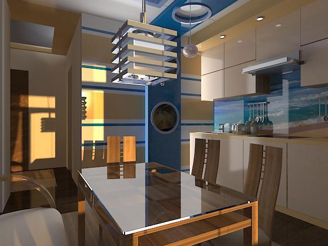 Кухня в морском стиле с деревянной отделкой