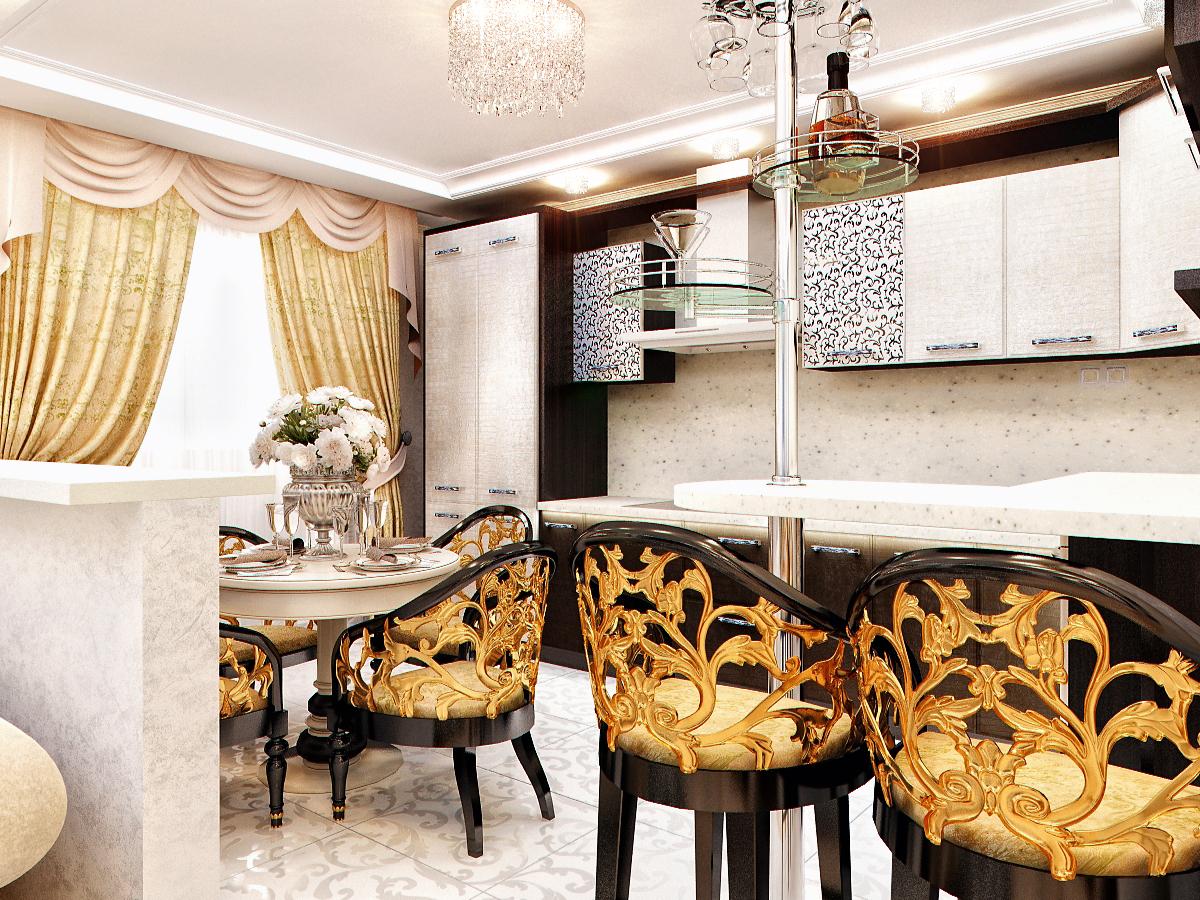Фасады мебели, спинки стульев украшают различными узорами