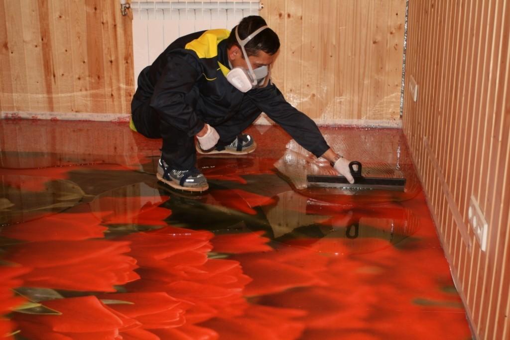 Процесс работы с наливным полом