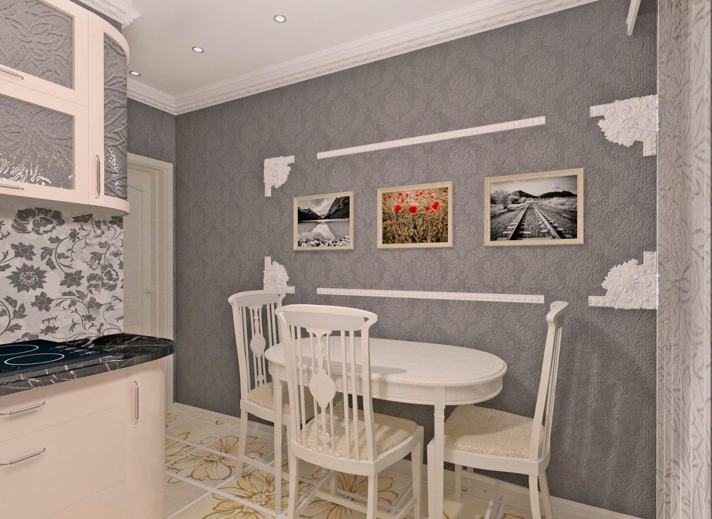 Дизайн стены на кухне с телевизором