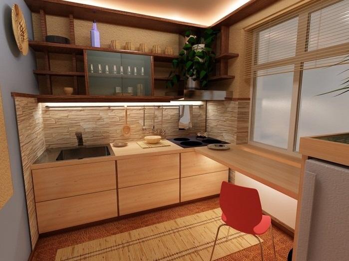 Один из оптимальных вариантов планировки маленькой кухни