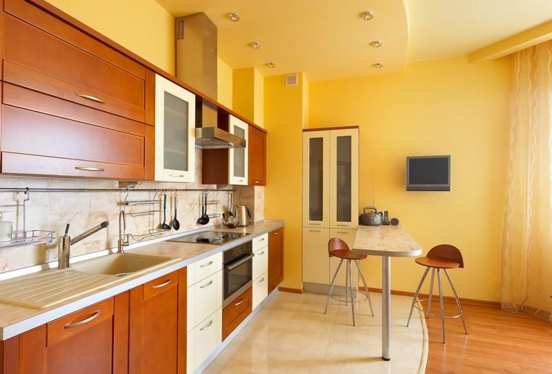 Подвесной потолок на кухне смотрится стильно и изыскано