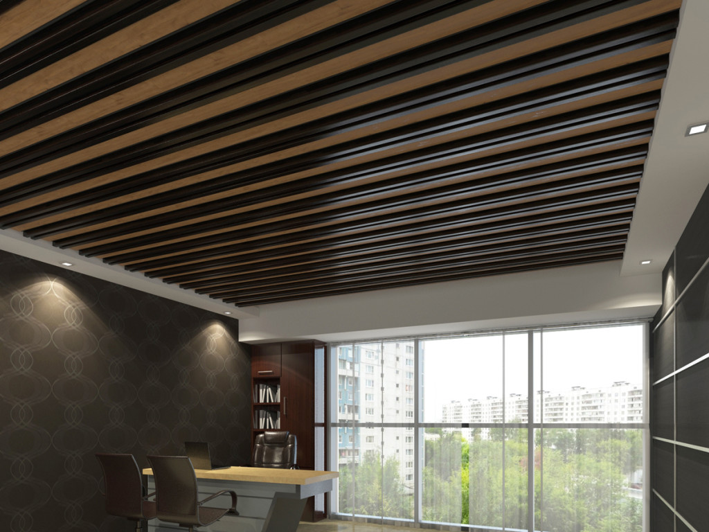 Реечный подвесной потолок смотрится очень роскошно
