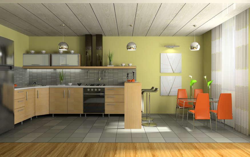 Потолок из пластиковых панелей может прекрасно сочетаться с кухней