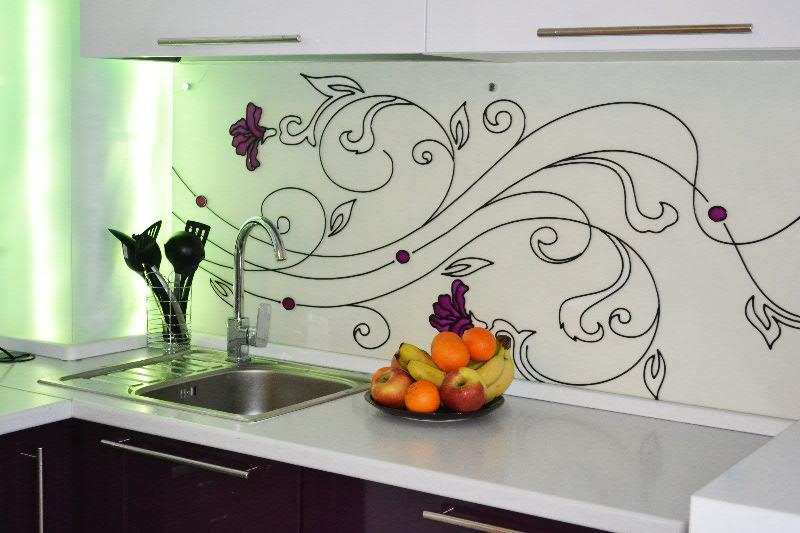 Кухонный фартучный витраж в стиле модерн