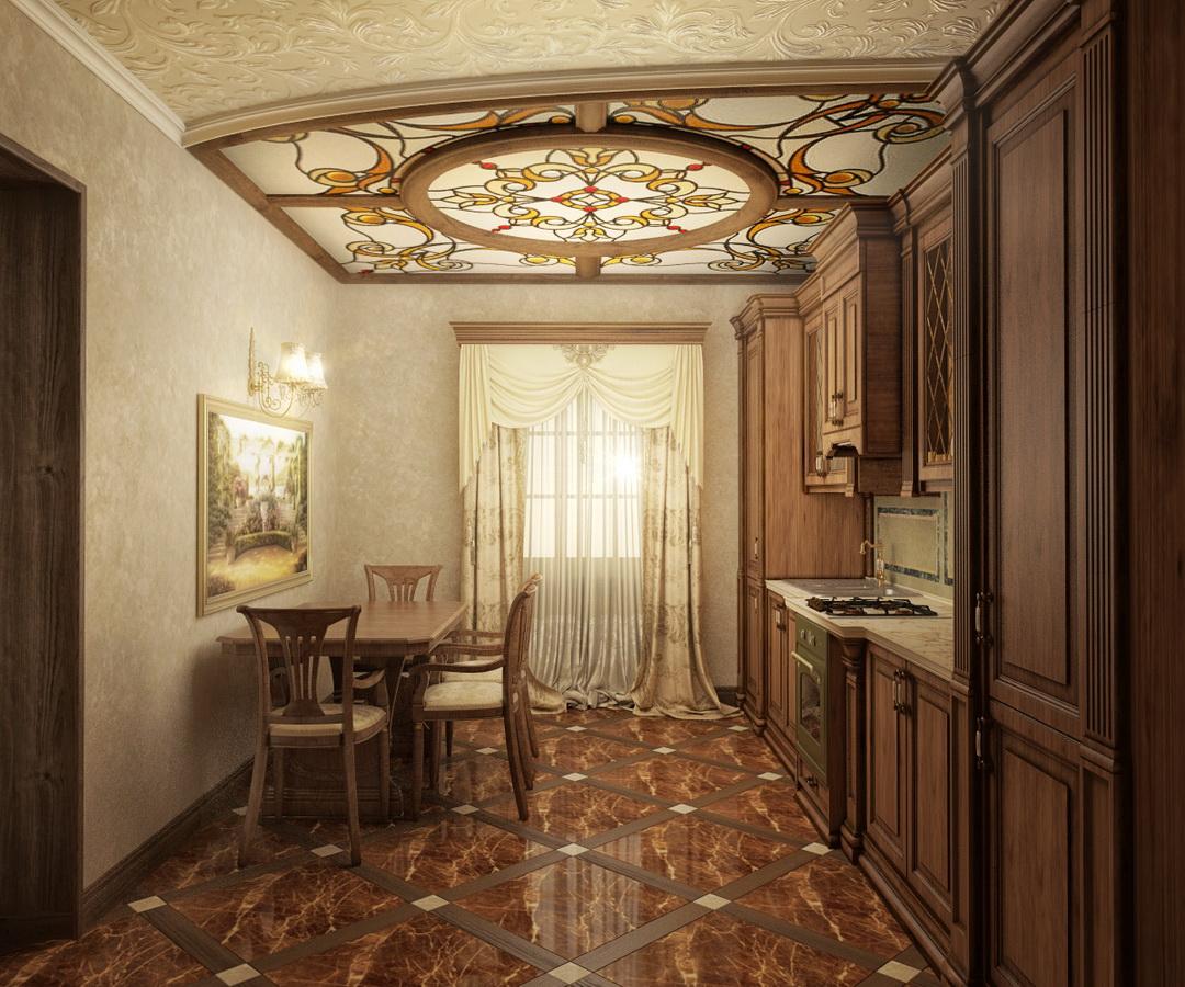 Потолочный витраж на кухне украсит помещение