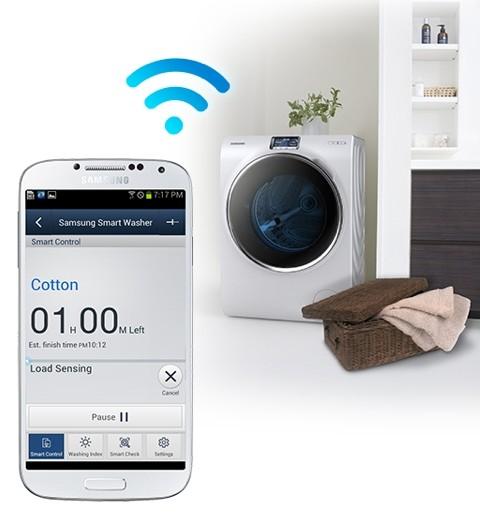 Современные стиральные машины могут управляться при помощи смартфона