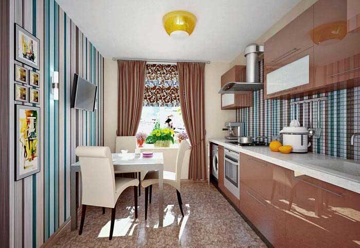 Кухня, увеличенная в высоту с помощью вертикальных полос.