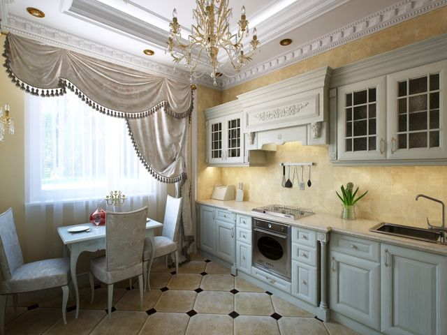 Линейная кухня в классическом стиле
