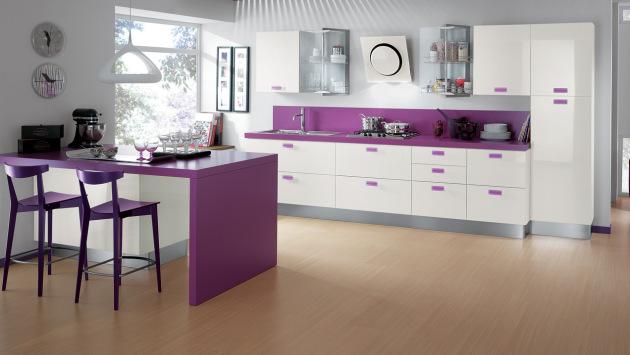 Фиолетовый фартук в тон гарнитура