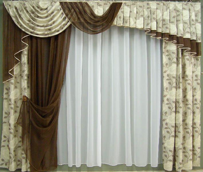 Комплект штор для кухни из портьерной ткани