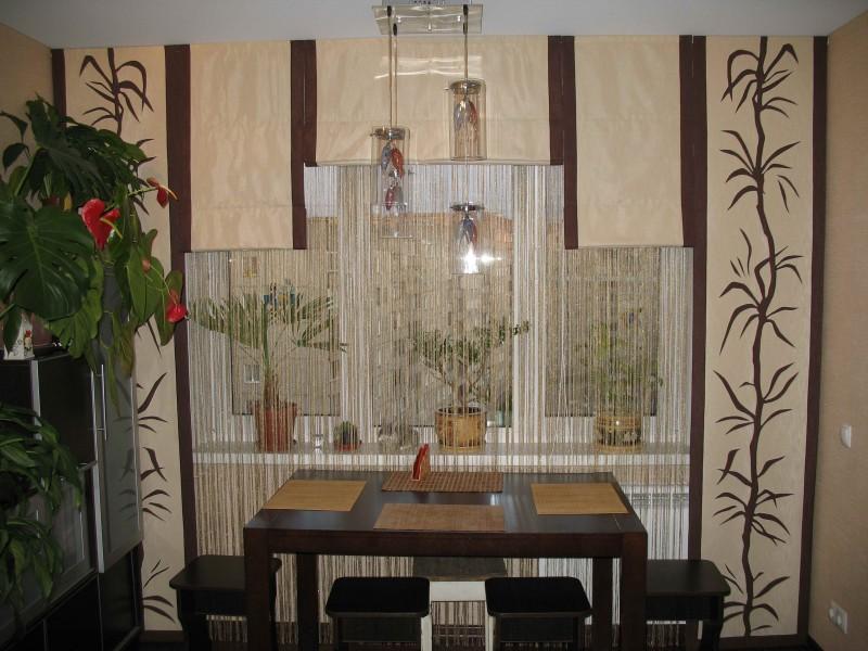 Комплект готовых кухонных штор – японские панели.