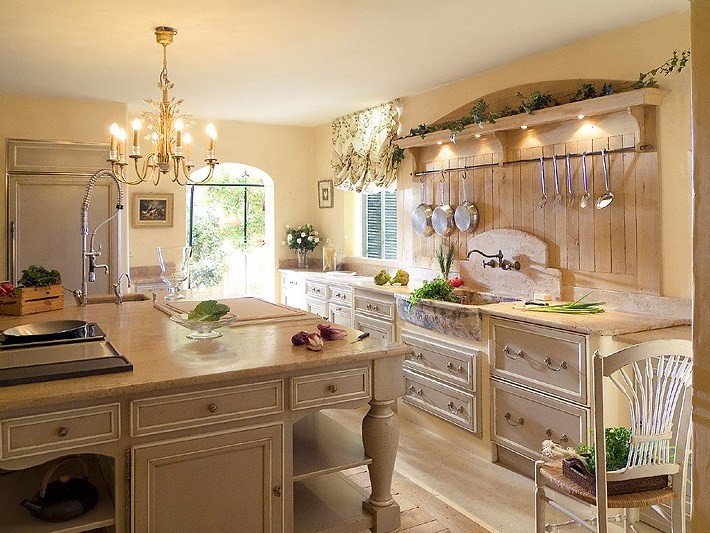Стиль прованс для кухни в частном доме