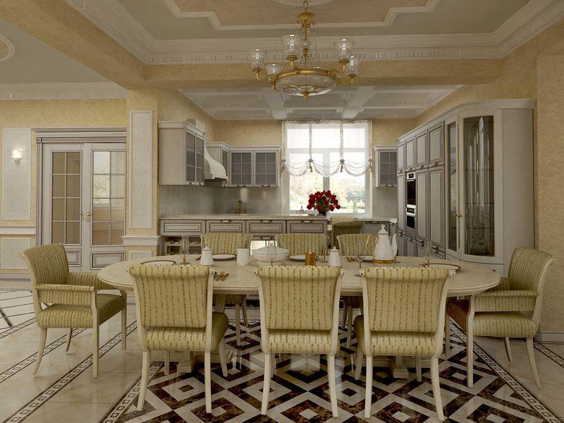 Интерьер просторной кухни в частном доме