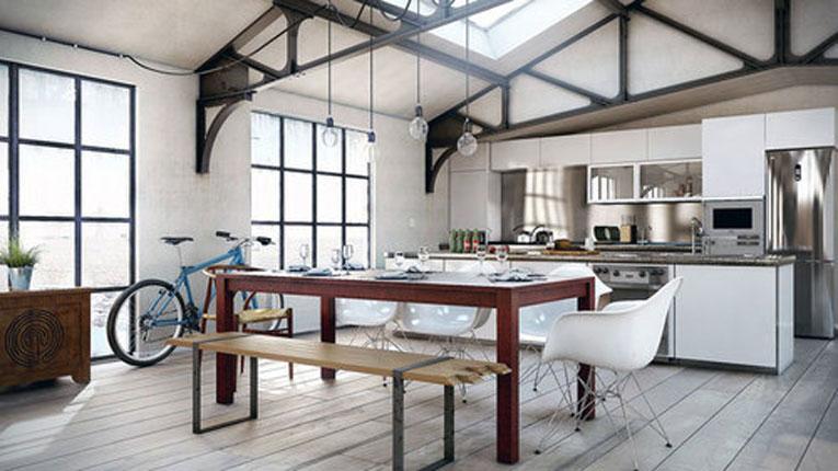 Кухня в частном доме в стиле лофт