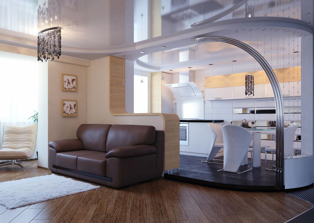 Дизайн кухни, совмещенной с гостиной.