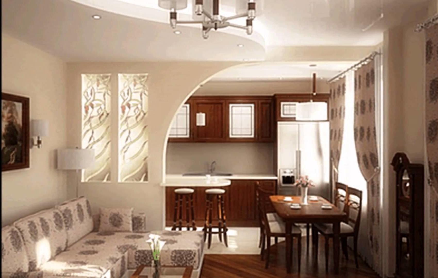 Совмещенная кухня с гостиной-столовой