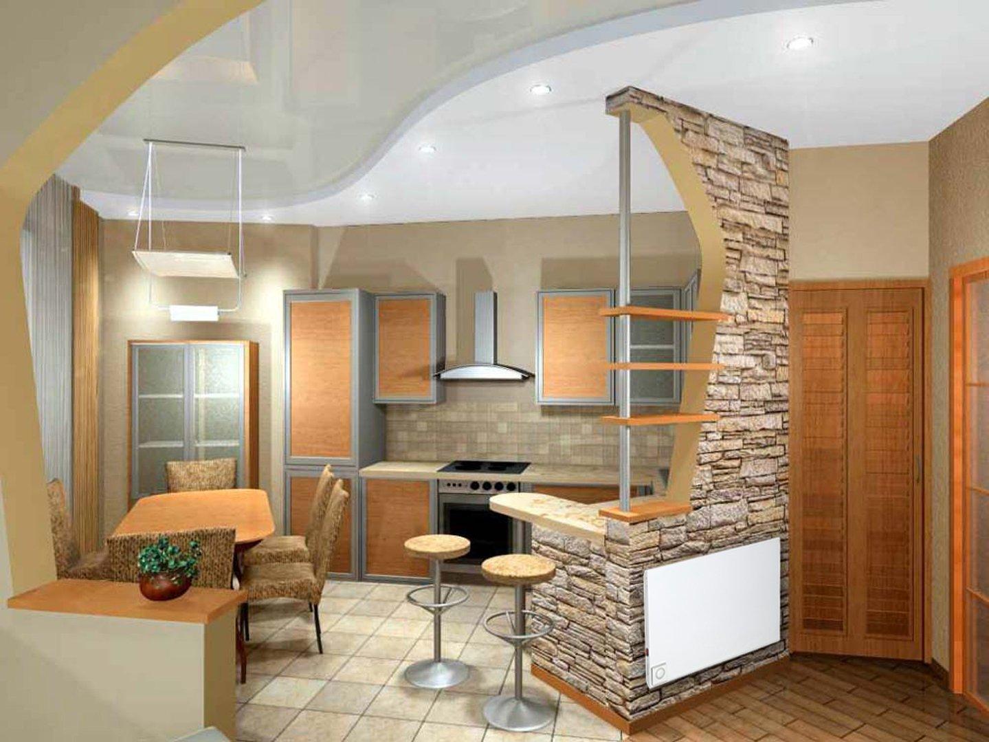 Зонирование кухни при помощи потолка