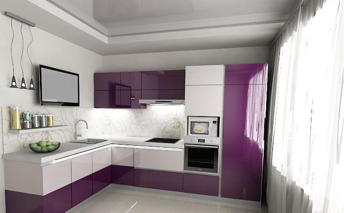 Модульная акриловая кухня в стиле минимализма