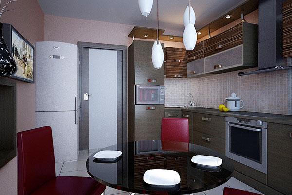 Стеклянный обеденный стол в малогабаритной кухне