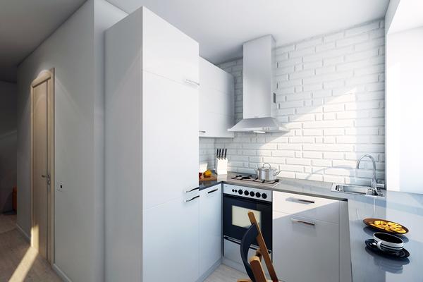 Кухня в хрущёвке с оптимальным расположением мойки, плиты и вытяжки