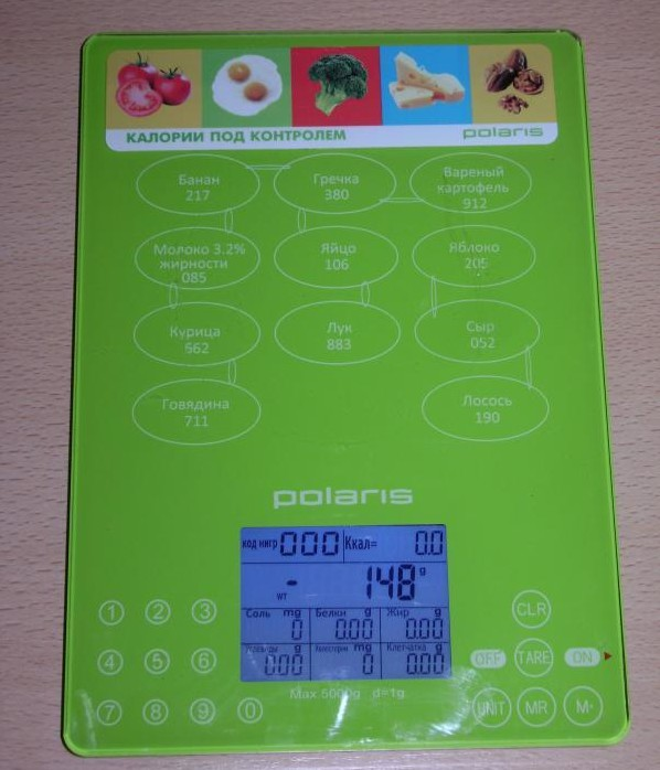 Весы с подсчетом калорий в ярком дизайне