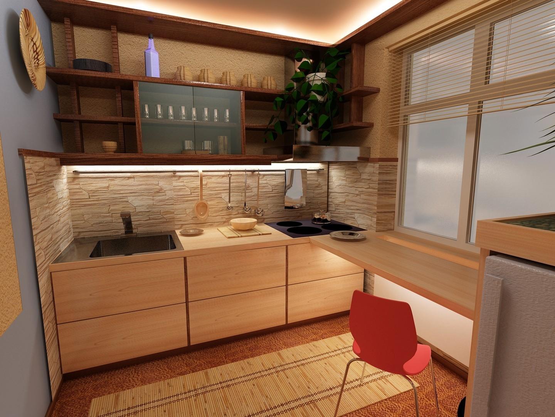 Интерьер скромной маленькой кухни
