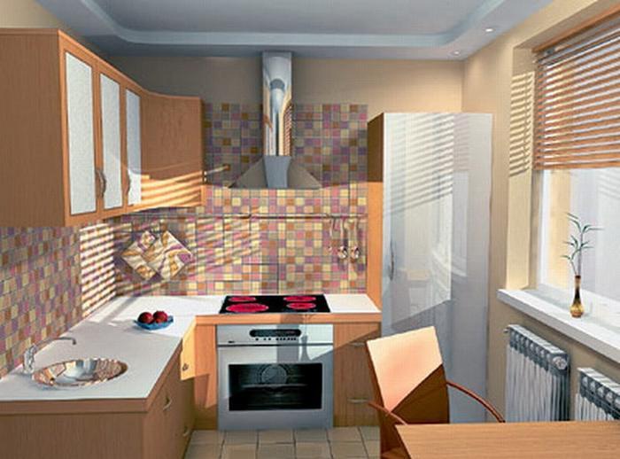 Угловой кухонный гарнитур на маленькой кухне