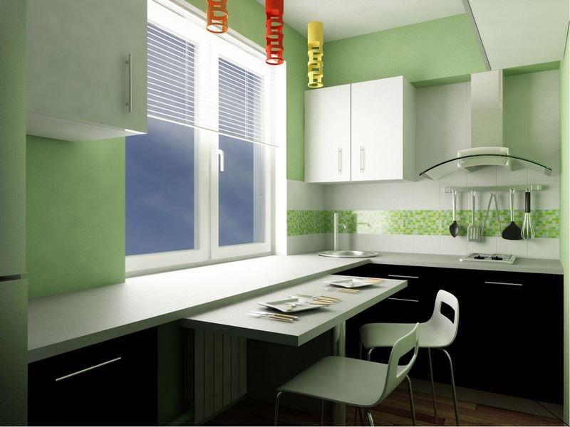 Компактный кухонный гарнитур с выдвижным столом