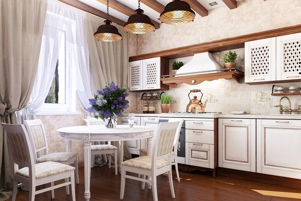 "Светло-розовые обои на кухне в стиле ""Прованс"""