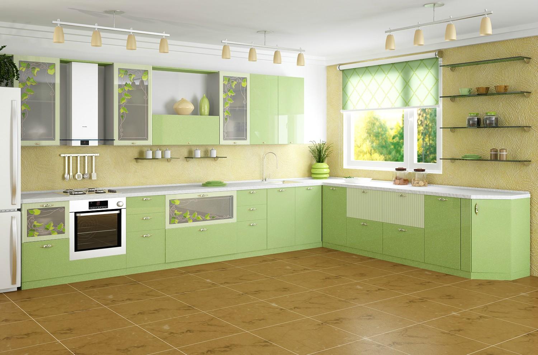 Модульная кухня в нежном салатовом цвете