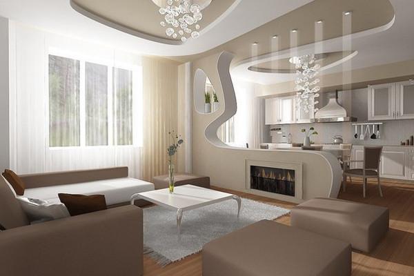 Кухня-гостиная с декоративной перегородкой
