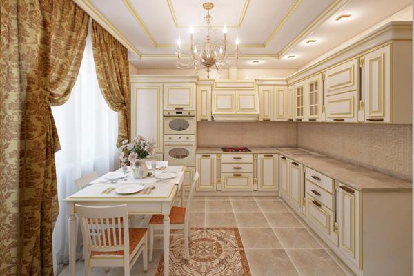 Аристократический дизайн кухни в бежевом цвете