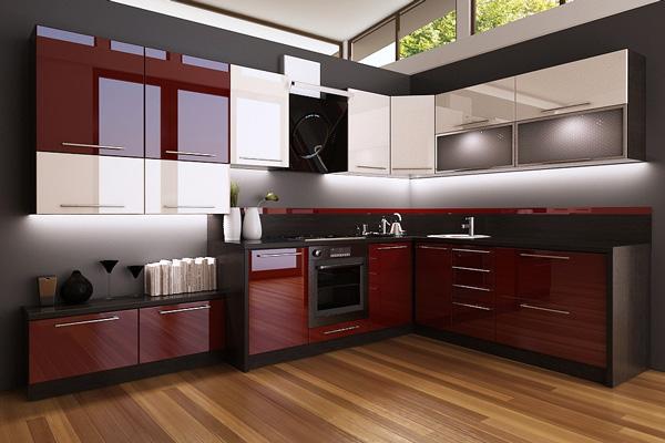 Сочетание бордового, белого и черного в дизайне кухни