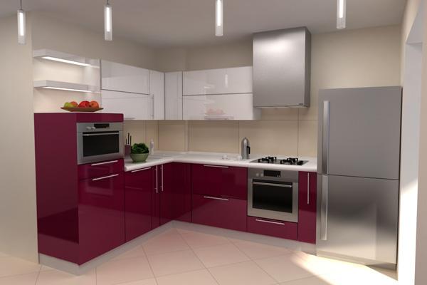 Кухня винно-красного цвета с сочетанием серого