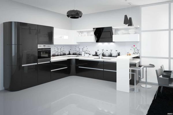 """Чёрно-белая кухня в стиле """"Минимализм"""""""